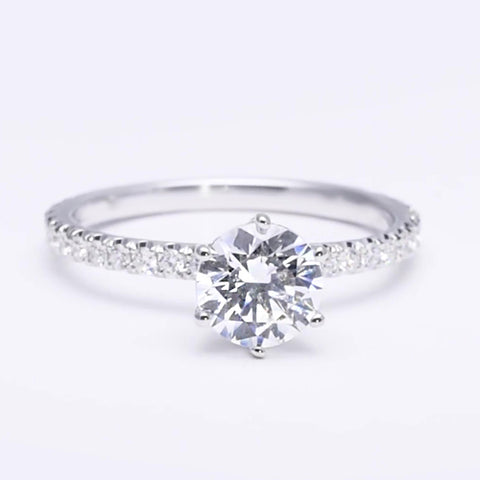 Diamond Engagement Solitaire Ring With Accents