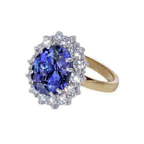 Oval AAA Tanzanite Diamonds 8.51 Carat Ring Two Tone Gold