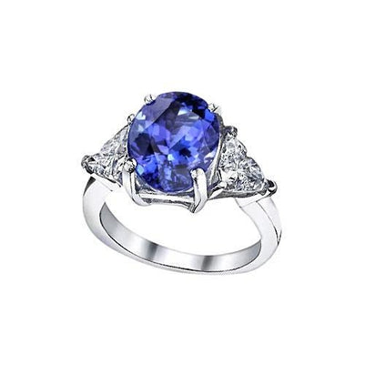 Oval AAA Tanzanite Trillion Diamonds Three Stone Ring 6.01 Carat Gold