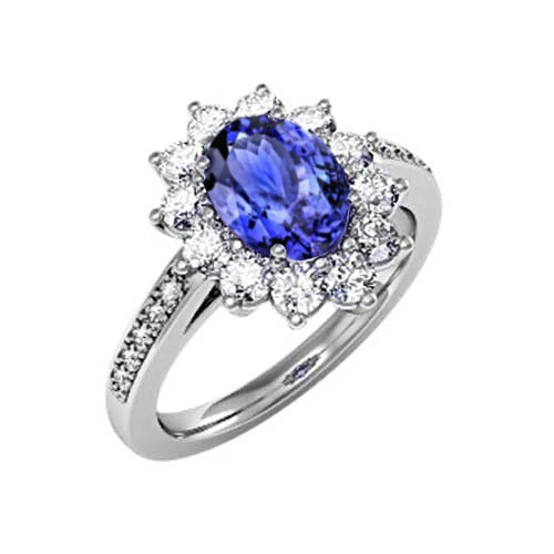Oval And Round Brilliant Diamonds 3.75 Carat Ring Tanzanite  WG 14K