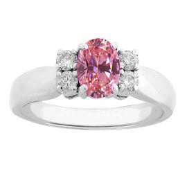Oval And Round Cut Pink Sapphire Diamonds Ring 2.10 Ct White Gold 14K