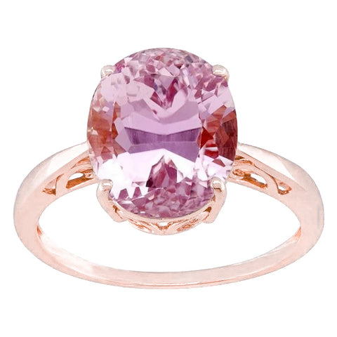 Oval Cut 19 Ct Solitaire Pink Kunzite Wedding Ring Rose Gold 14K