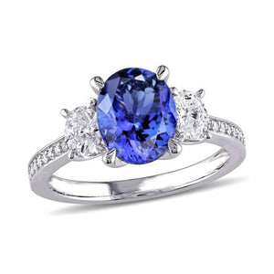 Oval Cut 4.50 Ct. Tanzanite With Diamonds 3 Stone Style Ring 14K