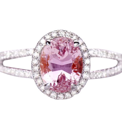 Oval Cut Kunzite With Round Diamonds 19.50 Ct Ring 14K White Gold