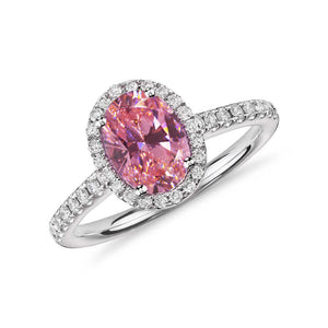 Oval Cut Pink Sapphire & Round Diamonds 2.25 Ct Ring 14K White Gold