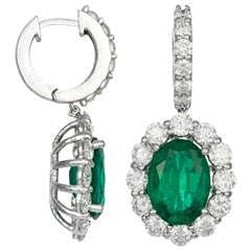 Oval Emerald 10.50 Carats Dangle Earring White Gold 14K