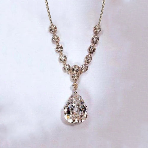 Pear Cut And Round Diamond Necklace Pendant 27 Carats White Gold 14K