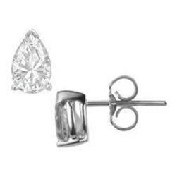 Pear Cut Solitaire Diamond Stud Earring 1.50 Carats 14K White Gold