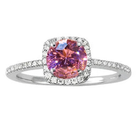 Pink Sapphire Round Center Wg Solitaire With Accents Ring 1.15 Ct.