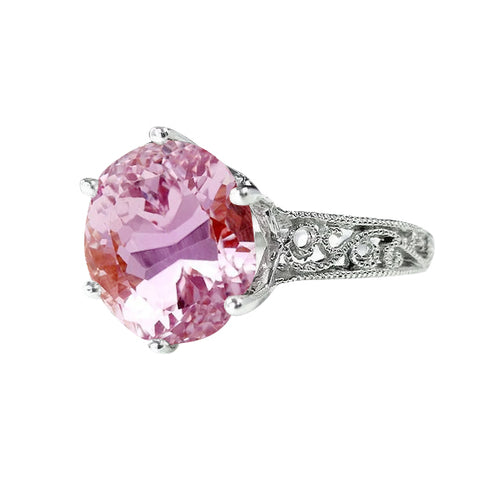 Prong Set 21.00 Ct Solitaire Pink Kunzite Wedding Ring White Gold