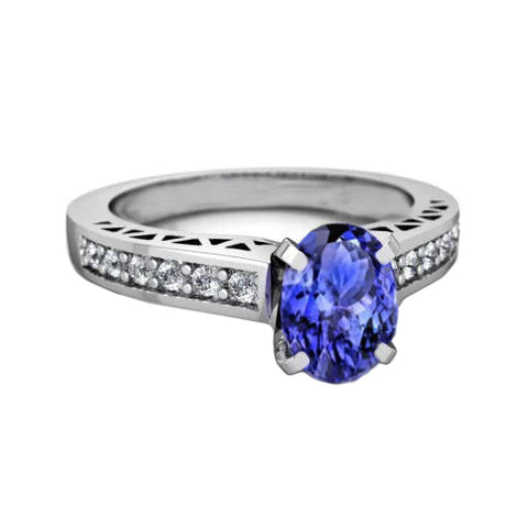 Prong Set 3.10 Carats Tanzanite And Diamond Ring 14K White Gold
