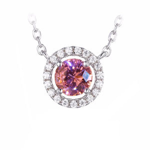 Round Pink AAA Sapphire With Diamond Necklace Pendant White Gold 14K