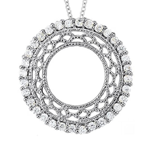 Round Diamond Pendant Circle 1.05 Carats White Gold 14K Without Chain