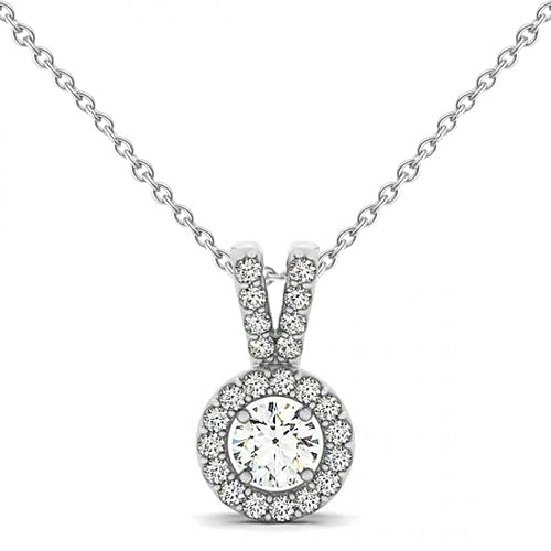 Round Diamond Pendant Necklace Without Chain 1.25 Carat Solid Gold 14K