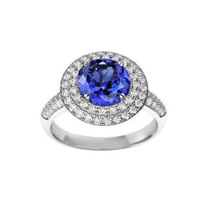 Round Genuine Tanzanite Natural Diamonds Split Fancy Ring 2.64 Carat