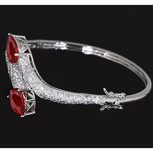 Gemstone Bracelet Ruby Diamond Bangle 18 Carats Women White Gold Jewelry New