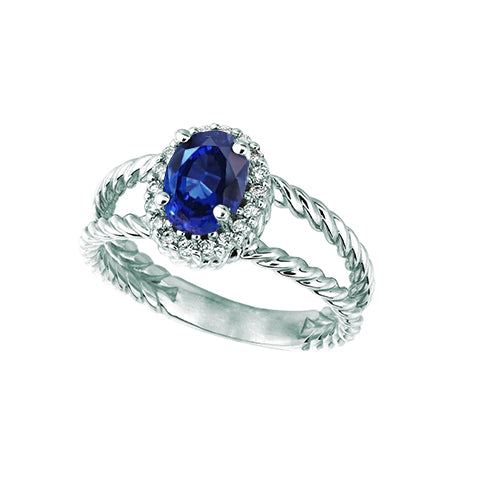 Sapphire And Diamond Oval Fancy Ring 1.55 Carats 14K White Gold