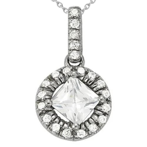 Princess Diamond Round Pendant Necklace 1.90 Carat White Gold 14K