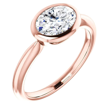 Solitaire Diamond Ring 4 Carats Bezel Setting Rose Gold Jewelry