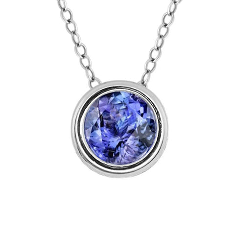 Round Cut Solitaire Diamond Tanzanite Bezel Set Pendant 17 Carat WG 4K