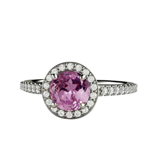 Solitaire With Accent 12.34 Carats Kunzite With Diamonds Ring Gold