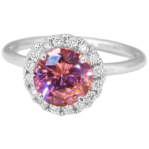 Solitaire With Accent 2.75 Ct. Pink Sapphire And Diamonds Ring 14K