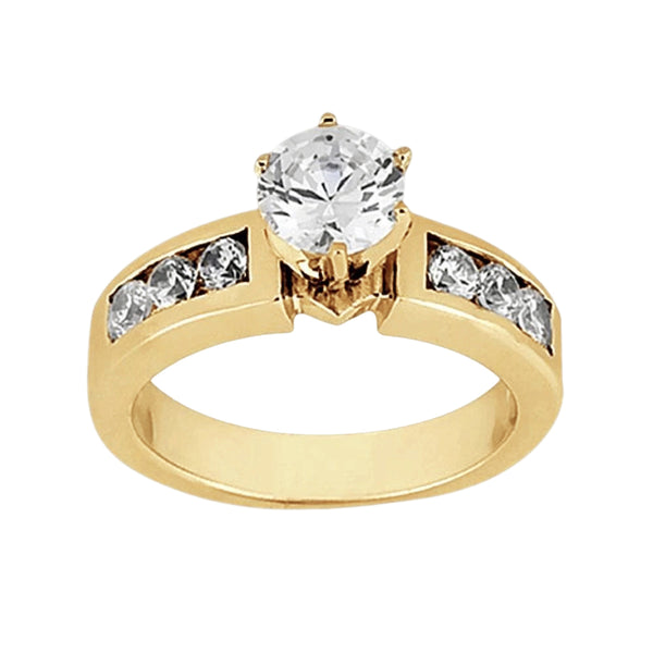 Solitaire With Accent Diamond 2.15 Carats Ring Yellow Gold 14K
