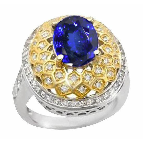Sparkling 3.11 Ct Oval Tanzanite Diamonds Ring Two Tone Gold