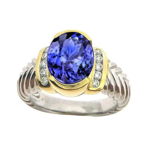Sparkling 3.51 Carat Oval Aaa Tanzanite Diamonds Ring Ne