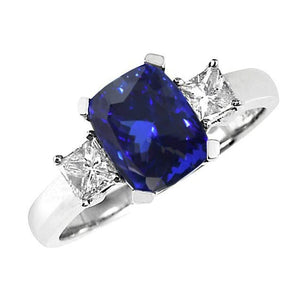 Sparkling 4 Carats Tanzanite Cushion And Diamond Anniversary Ring