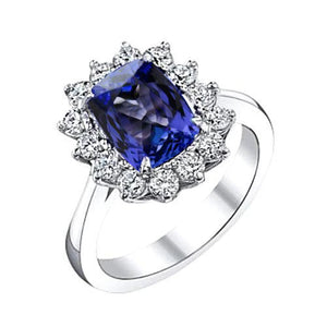 Sparkling 4.25 Carats Cushion Tanzanite Diamond Anniversary Ring