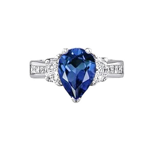 Sri Lanka Blue Sapphire  3.28 Carat Ring White Gold 14K Jewelry