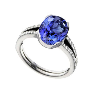 Tanzanite AAA Oval And Round Diamonds 3.75 Carat Ring Jewelry