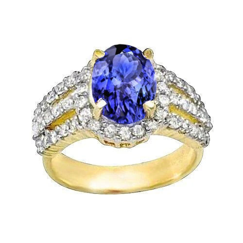 Tanzanite AAA Oval And Round Diamonds Ring Gold Yellow 3.51 Carats