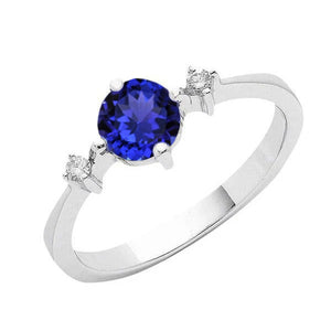 Tanzanite AAA Round Diamonds Women Fancy Ring White Gold 0.75 Carat