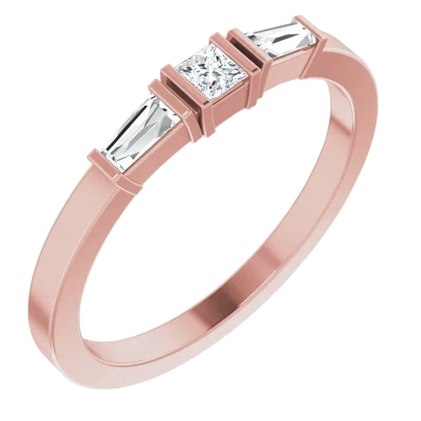 Three-Stone Diamond Ring 1.10 Carats Rose Gold 14K Jewelry