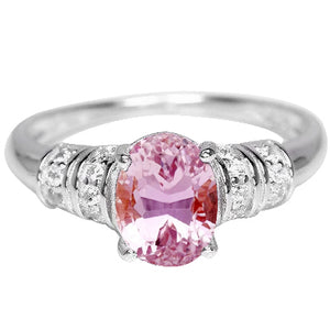 White Gold 14K 16.75 Carats Pink Kunzite With Diamond Engagement Ring