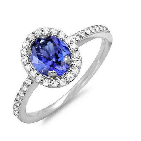 White Gold 14K 3.10 Carats Tanzanite And Diamonds Wedding Ring New