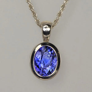 White Gold 14K Oval Cut Blue Tanzanite 14 Ct Pendant With Chain