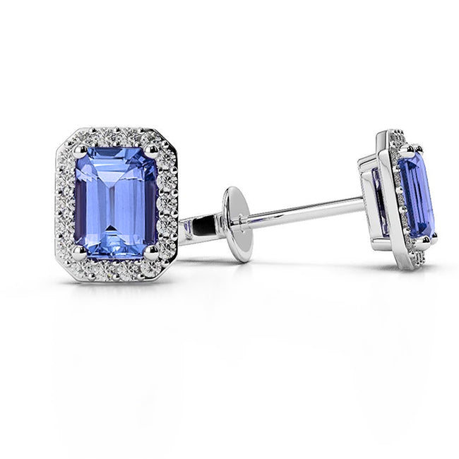 White Gold Prong Set Tanzanite With Diamonds 4 Ct Studs Earrings Halo