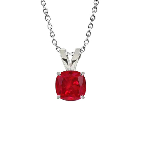 White Gold Solitaire 3.50 Ct Red Ruby Pendant Necklace With Chain