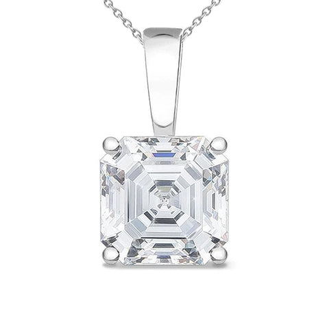 Asscher Cut Women Solitaire Diamond Pendant 2.0 Carat White Gold 14K