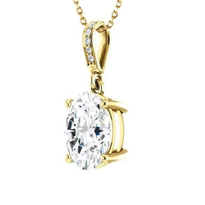 Yellow Gold 14K 3.25 Carats Sparkling Diamonds Pendant Necklace