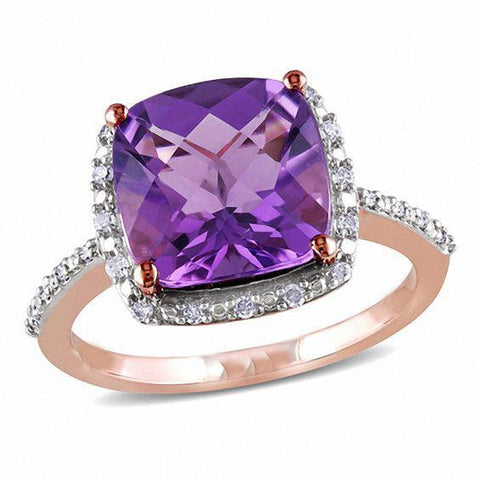 Amethyst And Diamonds 14.75 Carats Engagement Ring Rose Gold 14K Gemstone Ring