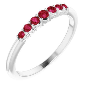 Anniversary Band Burmese Rubies 1 Carat 14K White Gold Jewelry Band