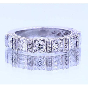Anniversary Band Round Diamond Classic Look 1.65 Carats White Gold 14K Band