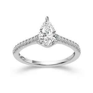 Anniversary Solitaire Ring With Accents Wg 14K 2.25 Carats Pear And Round Cut Diamonds Solitaire Ring with Accents