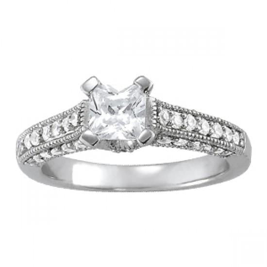 Antique Look 1.25 Cts. White Diamonds Engagement Ring Solid Gold 14K Solitaire Ring with Accents