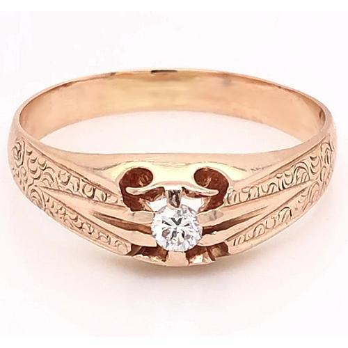 Antique Style Mens Diamond Ring 0.50 Carats V Split Shank Filigree Yellow Gold 14K Mens Ring