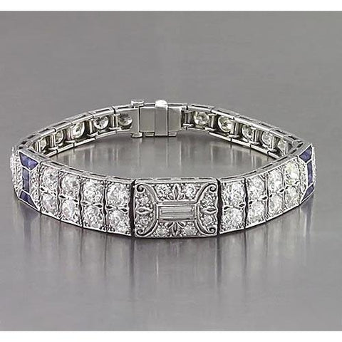 Antique Style Women Bracelet Blue Sapphire And Diamond 24.80 Carats White Gold Jewelry Gemstone Bracelet